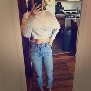 Aritzia Wilfred free gray crop sweater